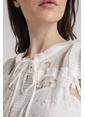 Rue Kolsuz Pileli Şifon Elbise Beyaz